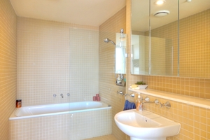 The Ensuite Bathroom at The York Two Bedroom Oceanview Apartment at Newcastle Beach.