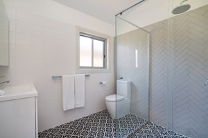 The Ensuite Bathroom at James Street Morpeth One Bedroom House.